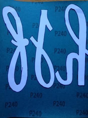 lettere smerigliate traccio bordo pennarello